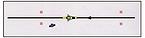 Provedení jízdy při nízké rychlosti - následování komisaře rychlostí chůze cca 4 km.h-1 v přímém směru (délka dráhy cca 12 m)